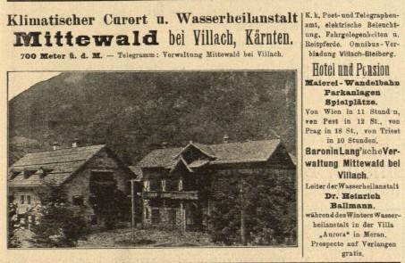 Zeitungsannounce Wasser-Heilanstalt Mittewald 1896