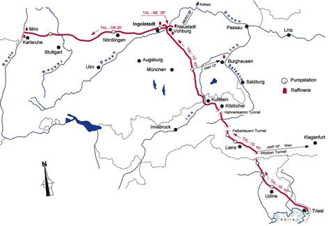 Verlauf der Trans-Alpin-Pipeline von Triest durch die Alpen nach Karlsruhe - www.tal-oil.com