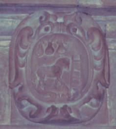 Stemma presente nel Palazzo Peruzzi a Cagli, riporta la partizione Druda Peruzzi