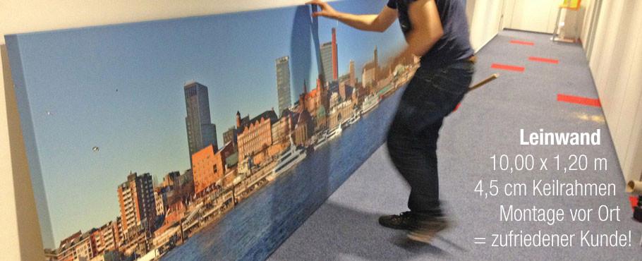 Leinwanddruck XL, 10 x 1,20m großes Leinwandbild gedruckt auf 4,5cm Galeriekeilrahmen, Keilrahmen aus Holz