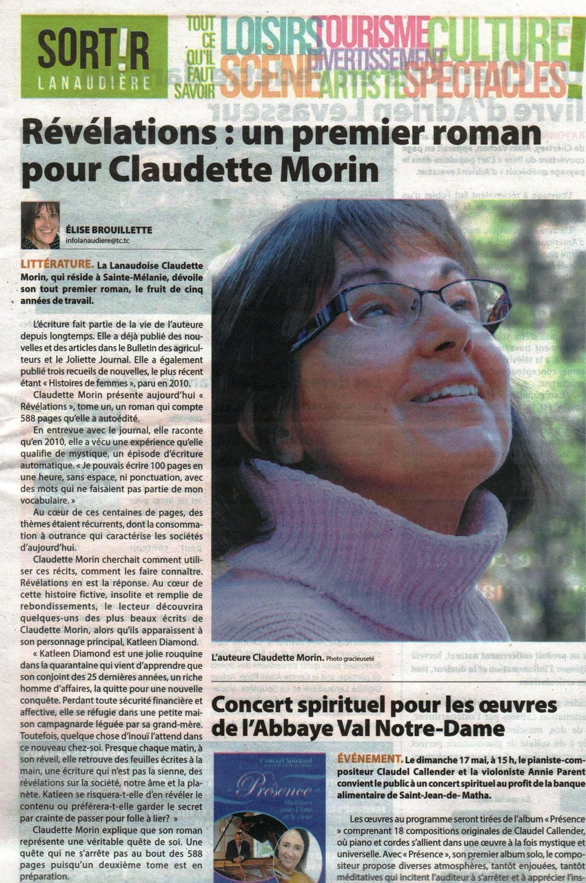 Article d'Élise Brouillette, Journal l'Action, Joliette, 13 mai 2015