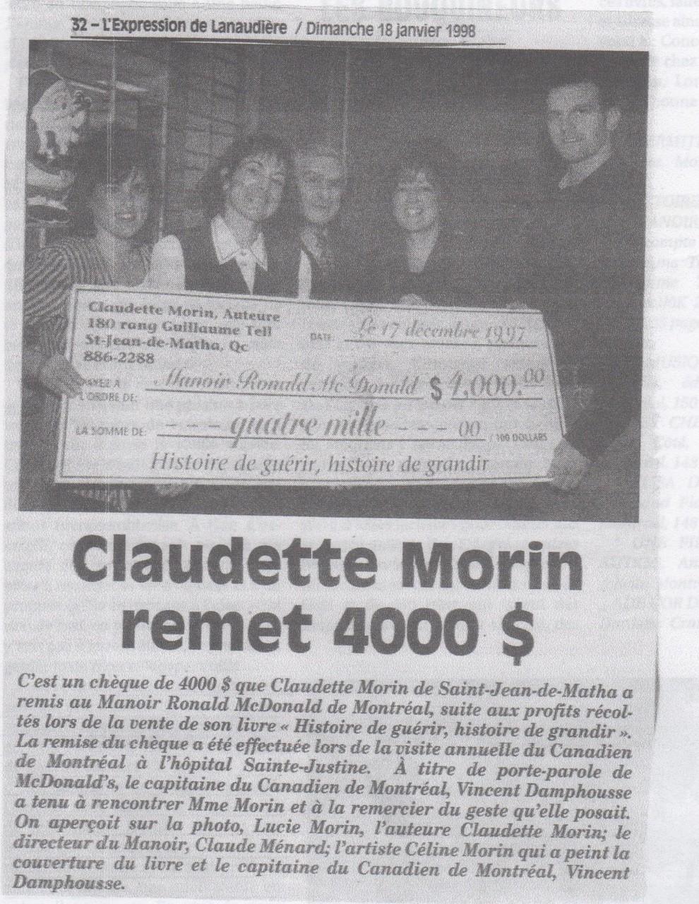 Don de 4000$ au Manoir Ronald McDonald VS Vente Histoire de guérir, historie de grandir