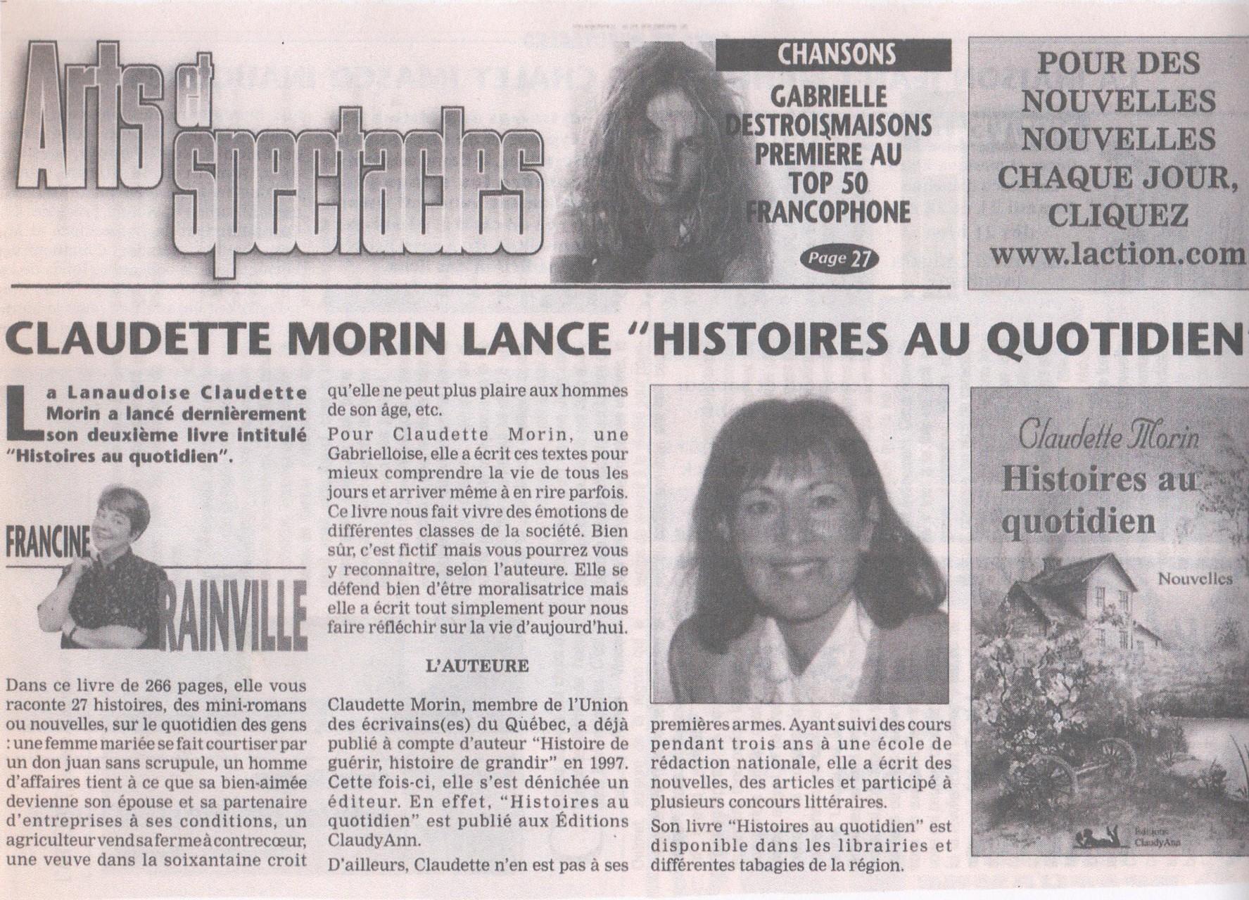 Article Francine Rainville, Journal L'Action VS Histoires au quotidien