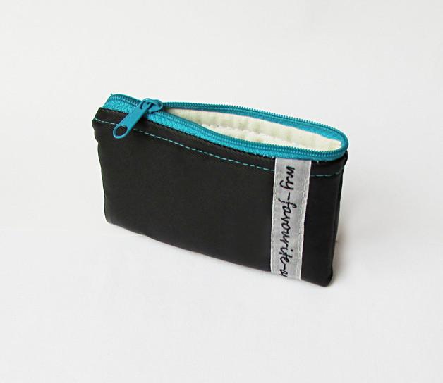 Geldbeutel schwarz mit türkisem Reißverschluss