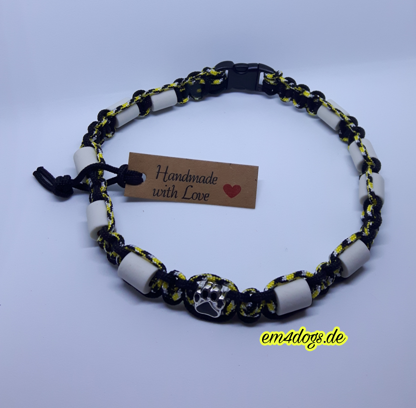 em4dogs.de EM-Keramik Hundehalsband schwarz gelb gemischt