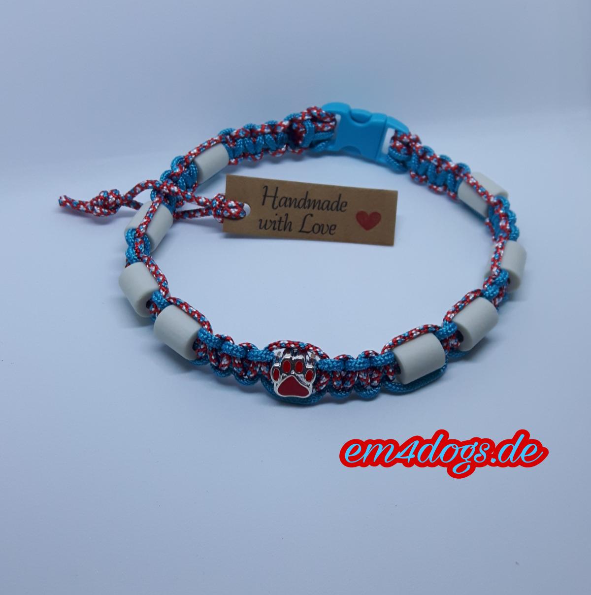 em4dogs.deEM-Keramik Hundehalsband rot  türkis gemischt