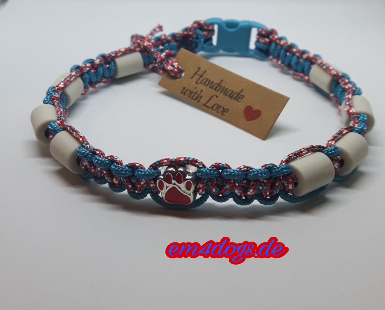em4dogs.de EM-Keramik Hundehalsband türkis rot
