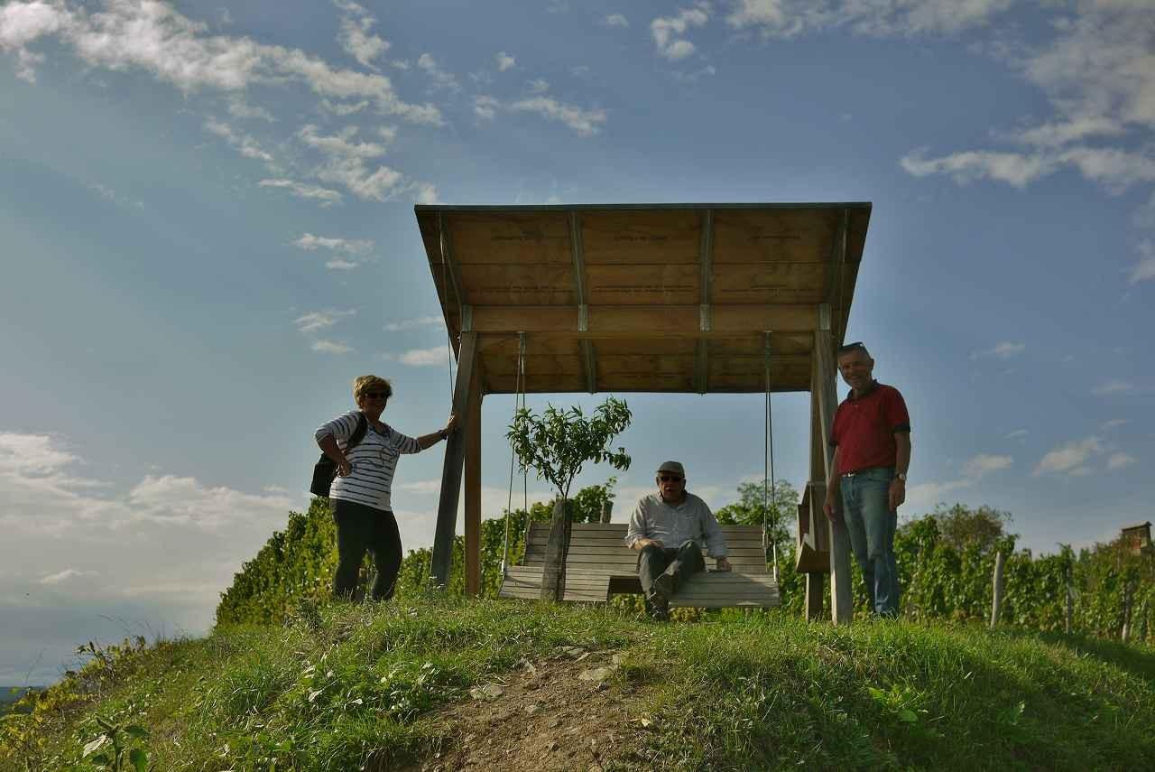 後方の畑がシュタインハウス(シャンケンビヒル側から撮影)。このベンチはヒードラーが設置。