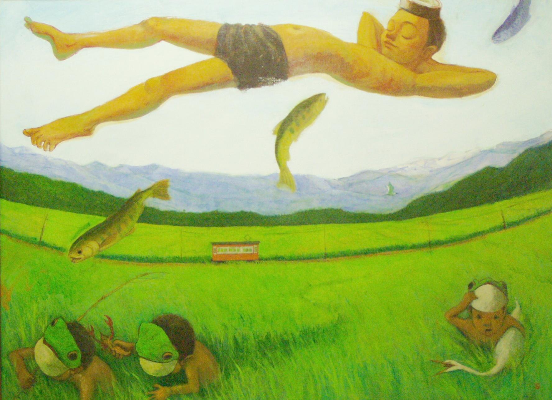 「 悠々童子 」(蛙童子シリーズ) F50号キャンバス・2005年