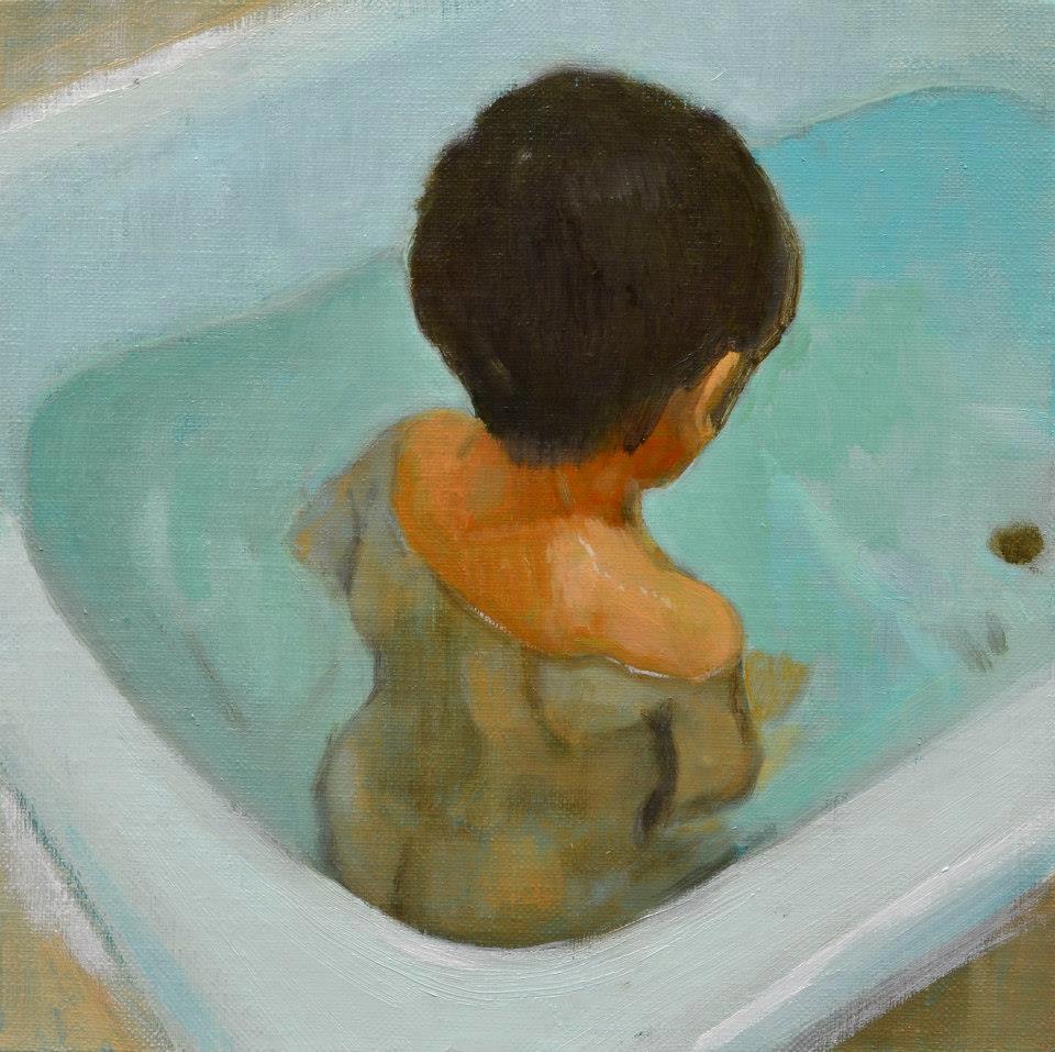 「浴室の陰謀」 F4号キャンバス・油彩・2009年