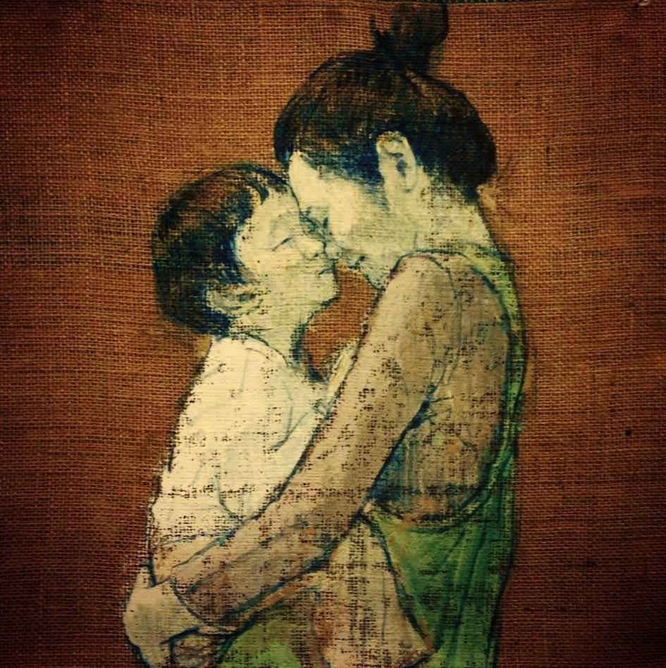 「 ダキシメルオモイ 」 600×550 麻布・油彩・2013年