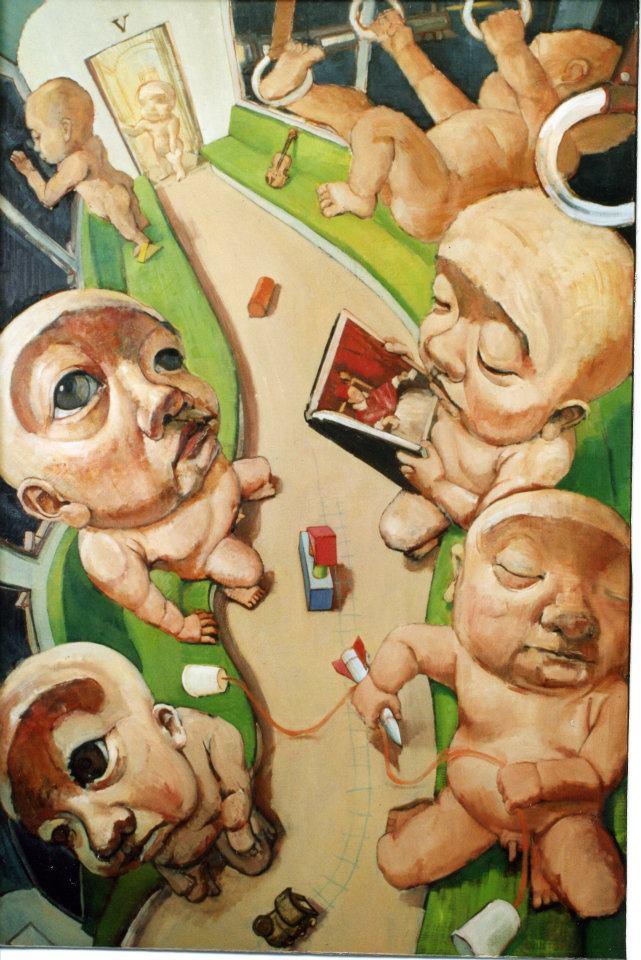 「 気高き野蛮人たち 」 F120号キャンバス・油彩・2001年