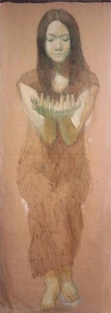 「ウケトルモノ」 1450×550 麻布・油彩・2006年