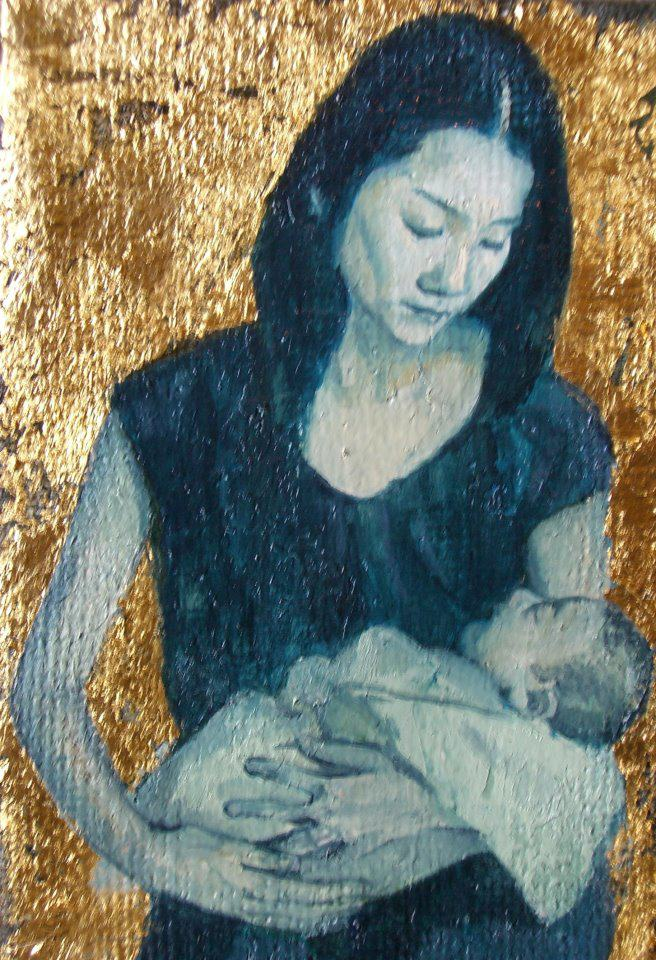 SMキャンバス・油彩、金箔・2008年