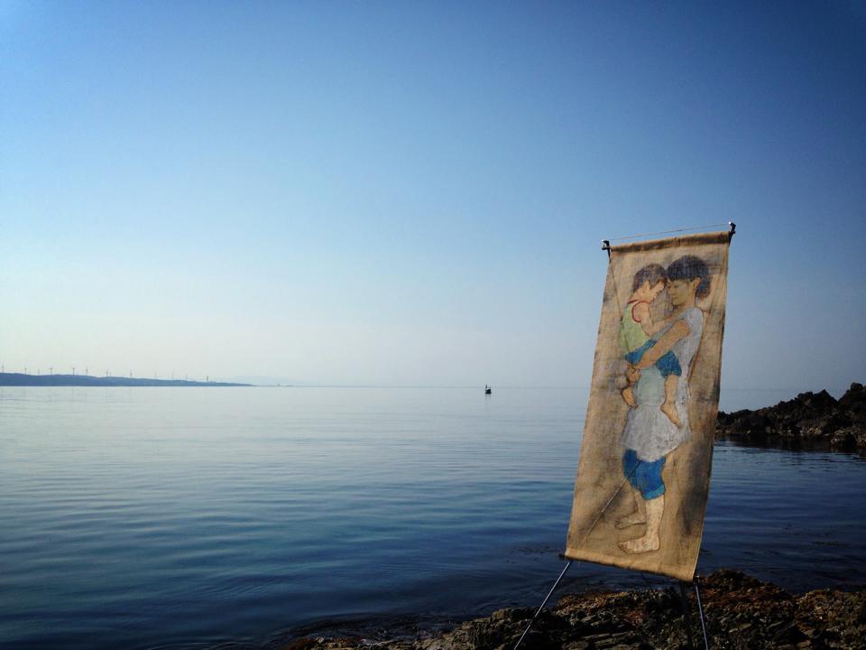 西海漁港から志賀原発を望む・日本海 (石川県) 2015年