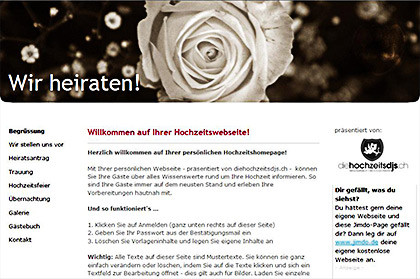 Gratis Homepage erstellen für Hochzeit