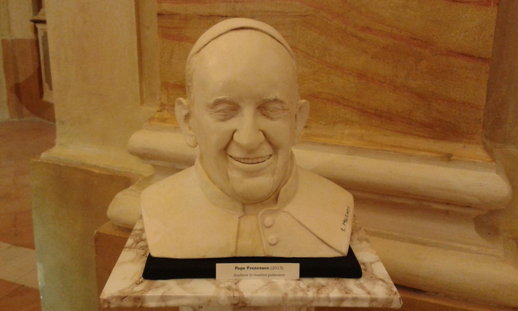 Papa Francesco, busto in mastice pietrificante, 2015