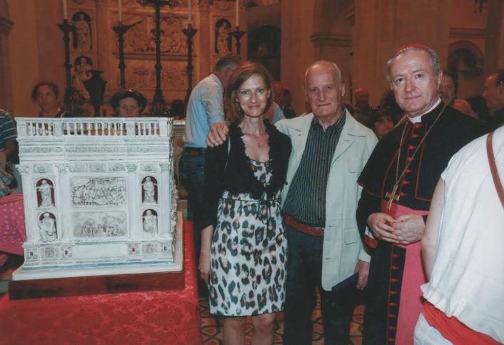 Con la figlia Emanuela, fedele e preziosa collaboratrice di Edgardo