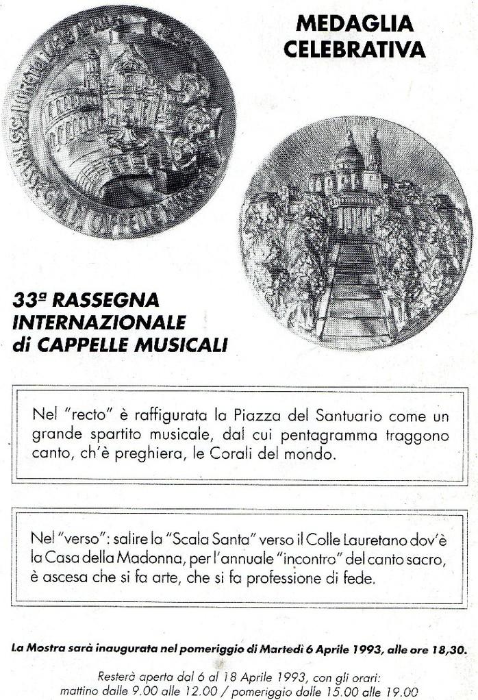 Medaglie realizzate da Edgardo in occasione della Rassegna di Cappelle Musicali