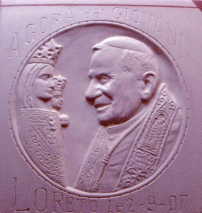 Papa Benedetto XVI e Madonna di Loreto, pietra calcarea spagnola