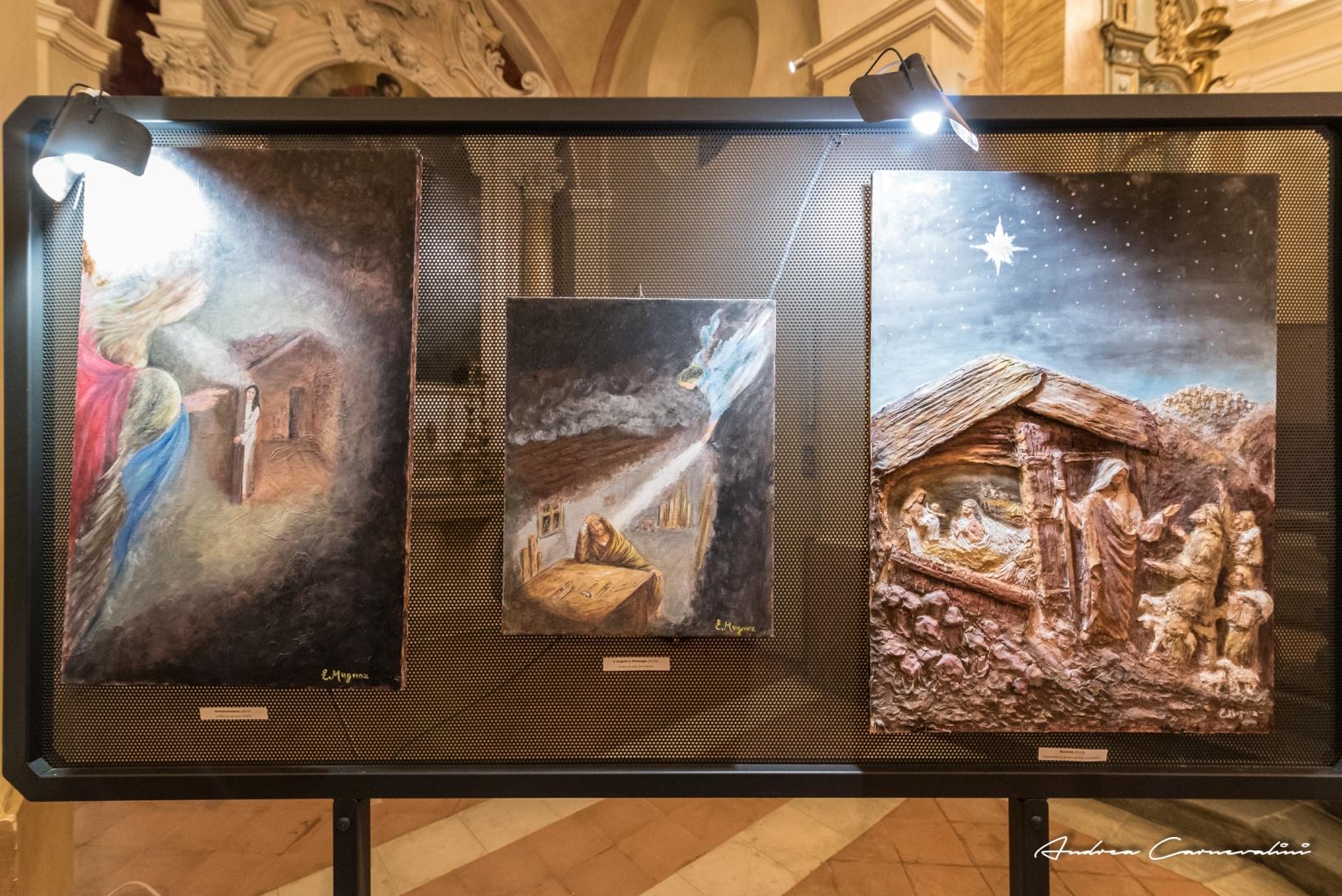 Annunciazione - Il sogno di Giuseppe - Natività, bassorilievi in gesso e acrilico 2015