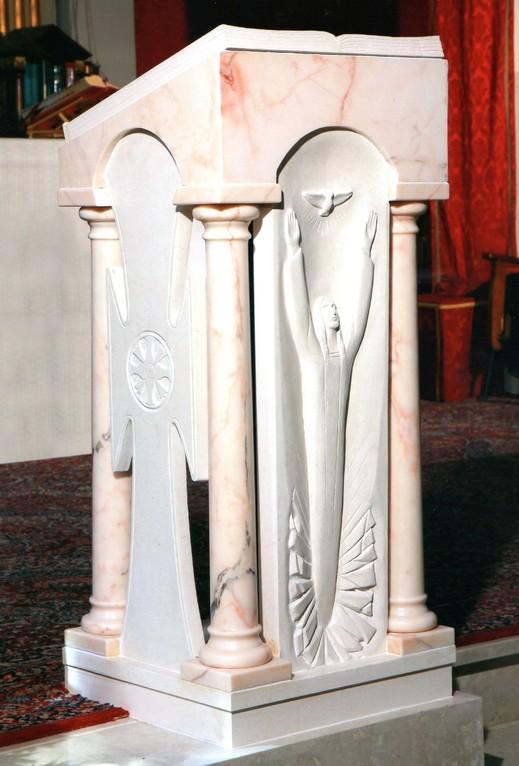 Ambone in marmo, Chiesa san Flaviano a Villa Musone di Loreto, 2011