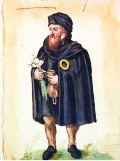 """""""Gelbes Ringle"""" auf der Kleidung eines Juden, Markus zum Lamm (1544 - 1606), Heidelberg, """"Jetzige Tracht der Juden zu Worms"""",  2. Hälfte 16. Jh., Aquarell"""