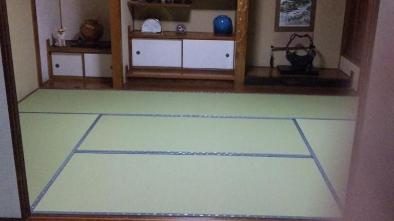 床の間、敷き込み完成。ほとんどこのままの色です。