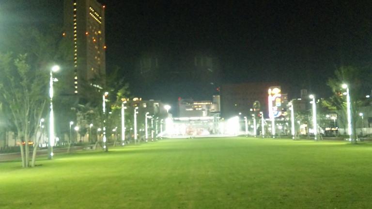 広い芝生広場と周りは450mウォーキングができます。