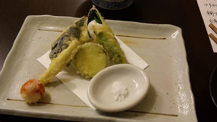 白子と季節野菜の天ぷら盛り合わせ