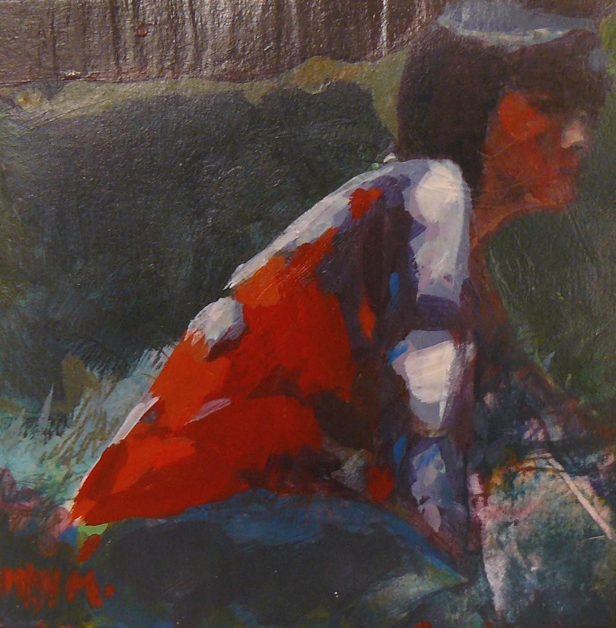 Jeune fille au pull rouge