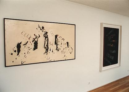 "Left to right: ""Investissement émotiv"" (1963), Le beau Sabreur (1961)"