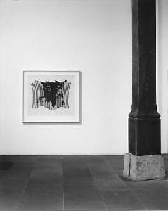 """""""Weintuch V"""", Baumwollstoff zwischen Seiden- und Polyestergaze (1992/94), Städtische Galerie Am Markt, Schwäbisch Hall, 1995"""