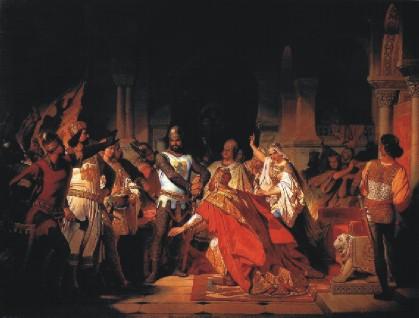 Philipp Foltz: L'Empereur Frédéric Barberousse s'agenouille devant le Duc Henri XII de Saxe et de Bavière, dit le Lion, à Chiavenna (1176)