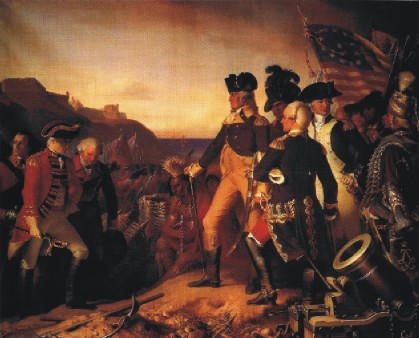Eugen Heß: Washington forces the English General Cornwall to surrender at the Siege of Yorktown (1781)