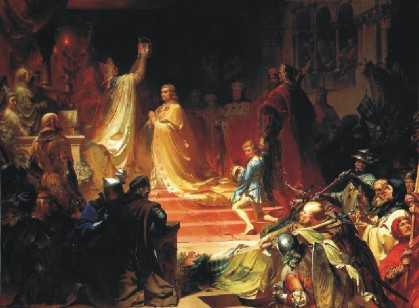 August von Kreling: Coronación del Emperador Luis de Baviera en Roma (1328)