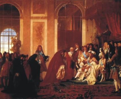 Ferdinand Pauwels: Luis XIV recibe en Versalles a una legación genovesa (1686)