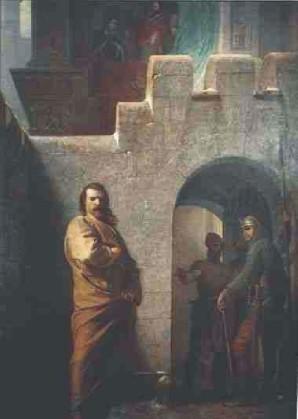 Eduard Schwoiser: L'Imperatore Enrico IV a Canossa (1077)