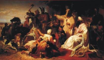 Julius Köckert: Harun al Raschid empfängt die Gesandten Karls des Großen (786)