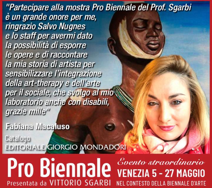 Macaluso Fabiana alla pro biennale Vittorio Sgarbi