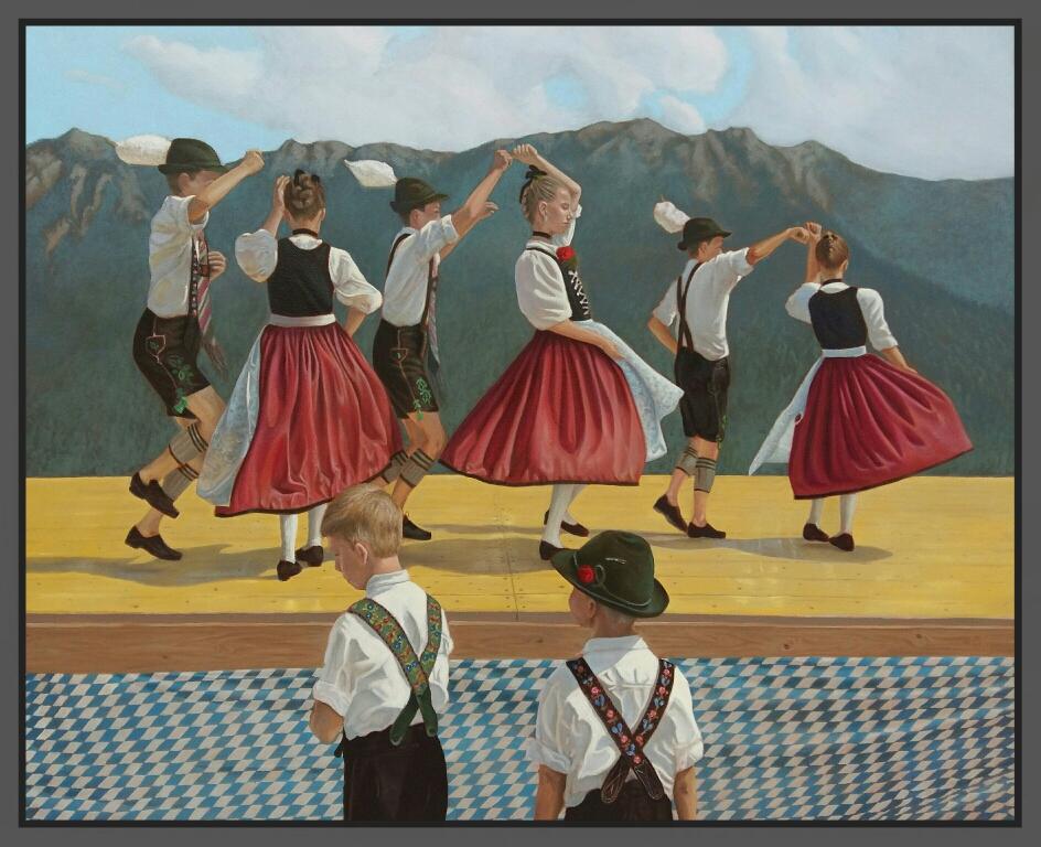 Parkfest Wallgau (in Arbeit), Öl auf Leinwand, 85 x 70cm, 2016