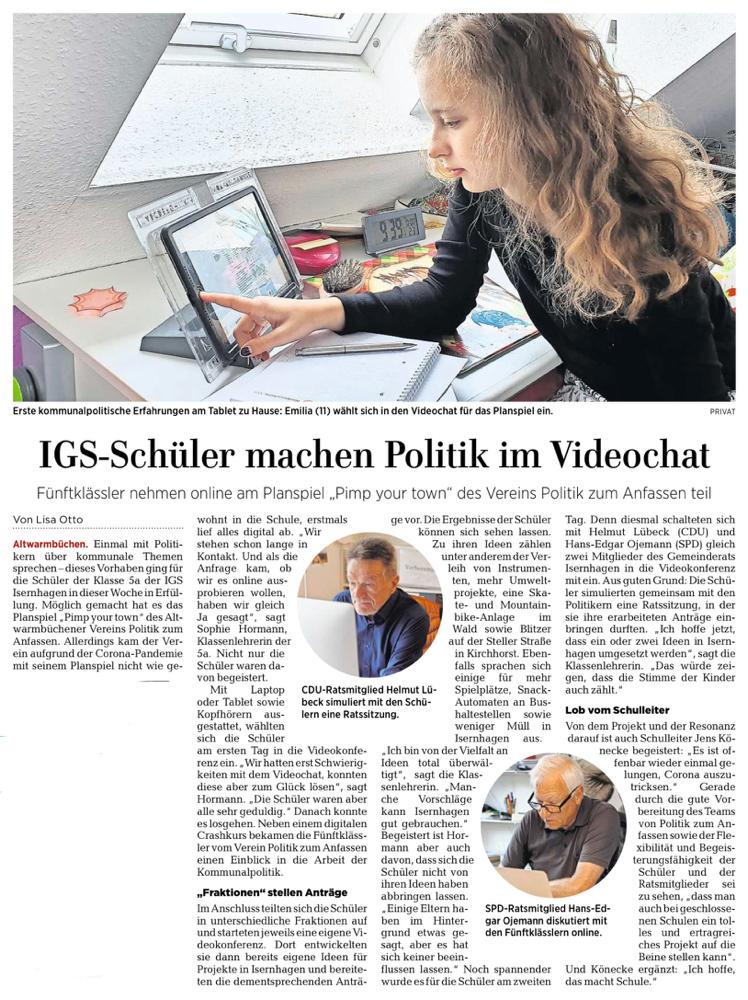 Hannoversche Allgemeine Zeitung, 23. Mai 2020