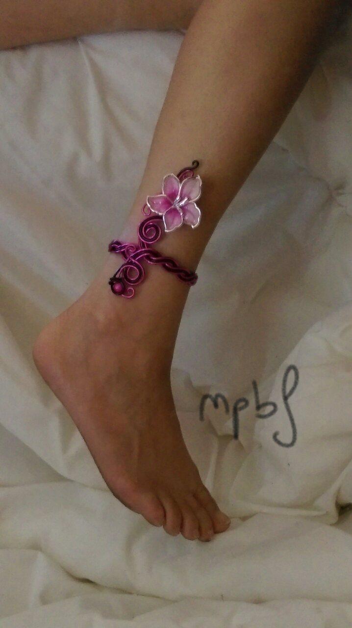 bracelet cheville rose