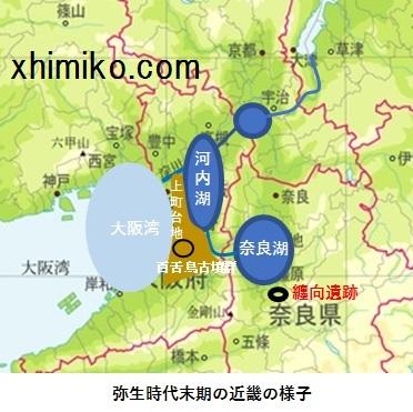 近畿地方の古代淡水湖地図