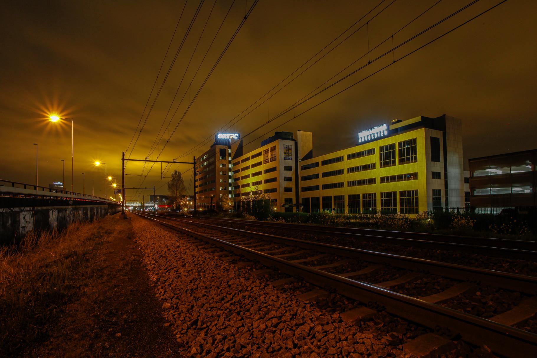 Nachtfoto treinspoor Zoetermeer - DOKOE Fotografie