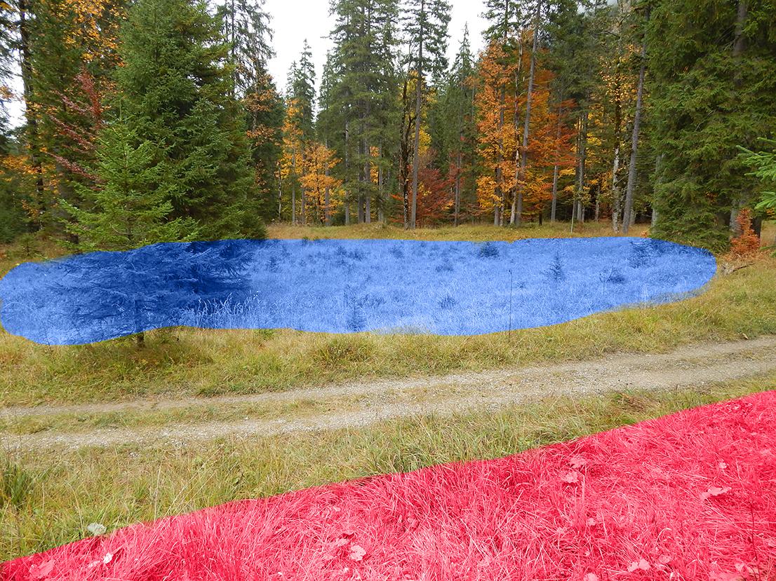 historischer Standort Hundinghüttte (rot), mit künstlichem See (blau)