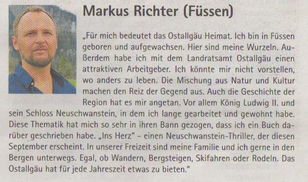 """Markus Richter und sein neues Buch """"Ins Herz - Neuschwanstein Thriller"""" in der Sonderbeilage der Allgäuer Zeitung zum 70jährigen Jubiläum des Landkreises Ostallgäu"""