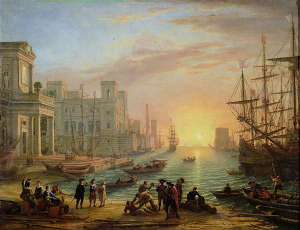 """Claudio de Lorena: """"Atardecer en el puerto"""" (1639)."""