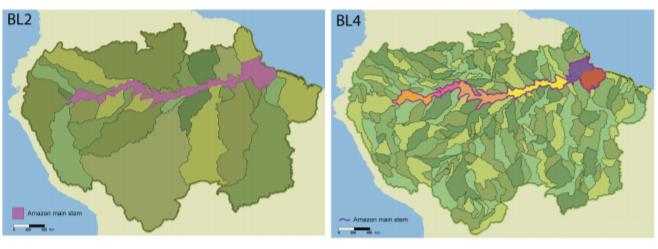 """Representación cartográfica de la cuenca amazónica y los datos de clasificación de los niveles de cuenca BL2 y BL4 (Veinticinque et al., 2016). """"An explicit GIS-based river basin framework for aquatic ecosystem conservation in the Amazon"""""""