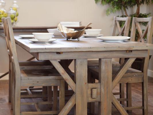 Massivholz Esstisch mit Stühlen